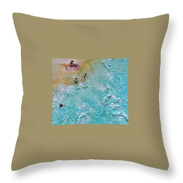 Throw Pillow featuring the painting Beach1 by Diana Bursztein