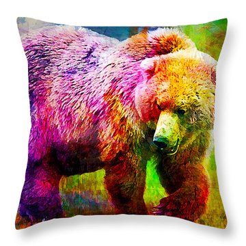 Bear Throw Pillow by Elena Kosvincheva