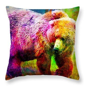Bear Throw Pillow by Elena Kosvincheva
