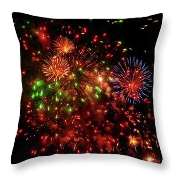 Beautiful Fireworks Against The Black Sky Of The New Year Throw Pillow