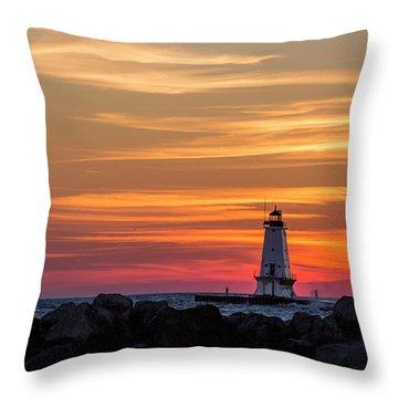 Throw Pillow featuring the photograph Beautiful Ludington Lighthouse Sunset by Adam Romanowicz