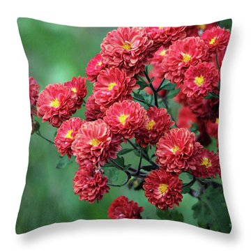 Beautiful Red Mums Throw Pillow