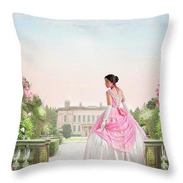 Beautiful Victorian Woman In The Garden Throw Pillow