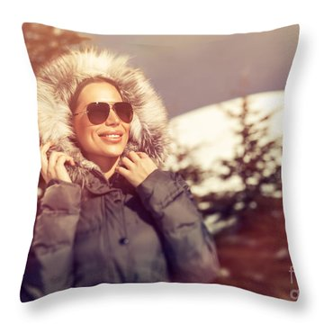 Beautiful Woman In Winter Park Throw Pillow