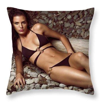 Beautiful Young Woman In Black Bikini On A Pebble Beach Throw Pillow by Oleksiy Maksymenko