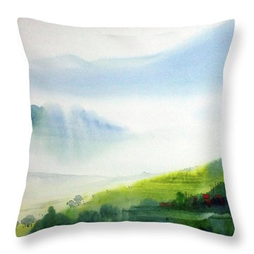 Throw Pillow featuring the painting Beauty Of Himalaya by Samiran Sarkar