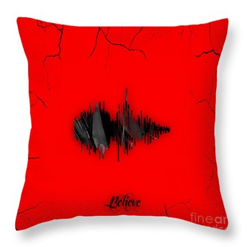 Believe Recorded Soundwave Collection Throw Pillow by Marvin Blaine