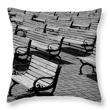 Benches Throw Pillow by Perry Webster