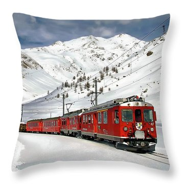 Bernina Winter Express Throw Pillow