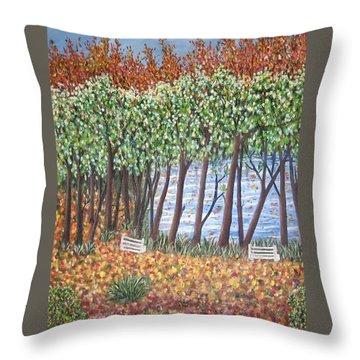 Beside The Pond Throw Pillow by Usha Rai
