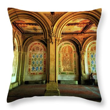 Throw Pillow featuring the photograph Bethesda Terrace Arcade by Jessica Jenney