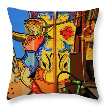 Throw Pillow featuring the photograph Betty Boots by Skip Hunt