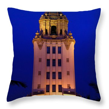 Beverly Hills City Hall Tower Throw Pillow by Wernher Krutein