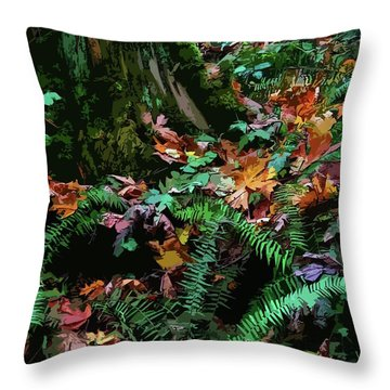Big Leaf Maple Leaves Throw Pillow by Anne Havard