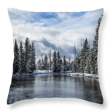 Big Springs In Winter Idaho Journey Landscape Photography By Kaylyn Franks Throw Pillow