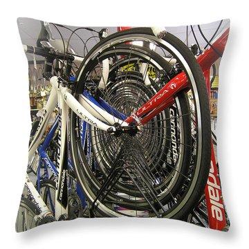 Bike Wheels Throw Pillow
