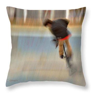 Biking  The Skateboard Park 4 Throw Pillow by Kae Cheatham