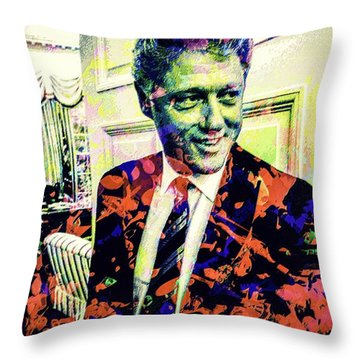 Bill Clinton Throw Pillow by Svelby Art