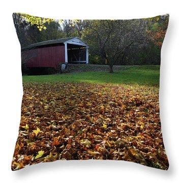 Billy Creek Bridge Throw Pillow by Joanne Coyle