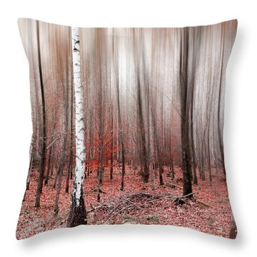 Throw Pillow featuring the photograph Birchforest In Fall by Hannes Cmarits