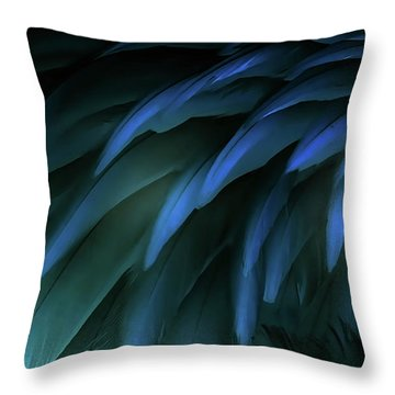 Bird Feathers Collage. Photos With Graphic Effect. Throw Pillow