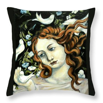 Bird Lady Throw Pillow by Carrie Joy Byrnes