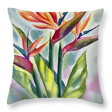 Bird Of Paradise Flowers Throw Pillow