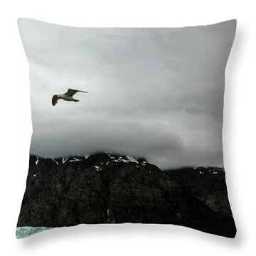 Throw Pillow featuring the photograph Bird Over Glacier - Alaska by Madeline Ellis