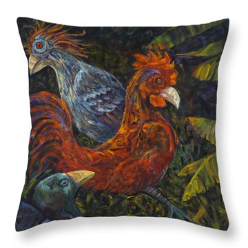 Birditudes Throw Pillow by Claudia Goodell