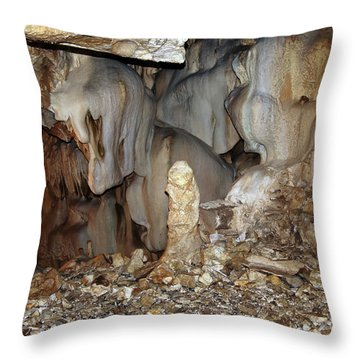 Throw Pillow featuring the photograph Bizarre Mineral Formations In Stalactite Cavern by Michal Boubin