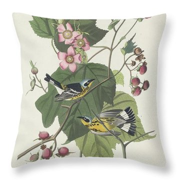 Black And Yellow Warbler Throw Pillow