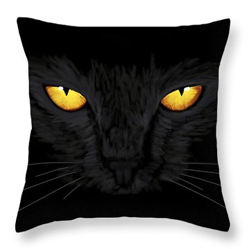 Throw Pillow featuring the painting Superstitious Cat by Anastasiya Malakhova