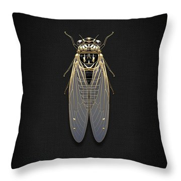 Black Cicada With Gold Accents On Black Canvas Throw Pillow