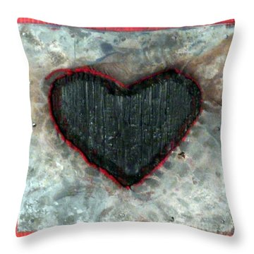 Black Heart Throw Pillow by Jane Clatworthy