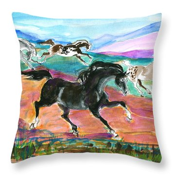 Throw Pillow featuring the painting Black Pony by Mary Armstrong
