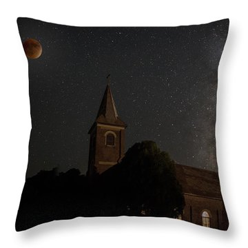 Blood Moon Over St. Johns Church Throw Pillow