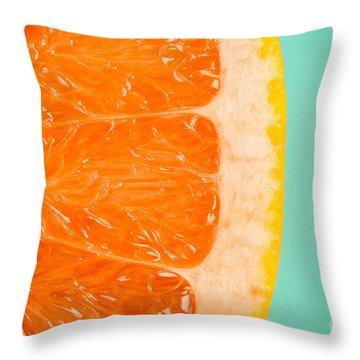 Blood Orange Slice Macro Details Throw Pillow by Radu Bercan