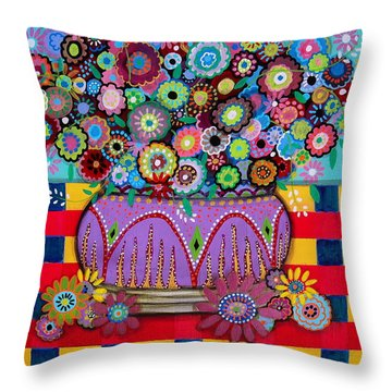 Throw Pillow featuring the painting Blooms by Pristine Cartera Turkus