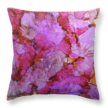 Throw Pillow featuring the painting Blossoms Ink #1 by Sarajane Helm