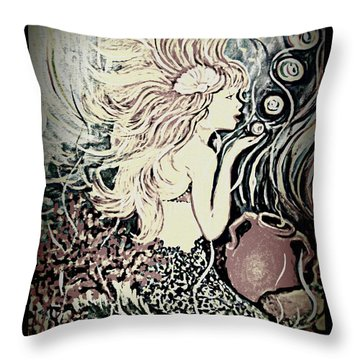 Blowing Bubbles Throw Pillow by Yolanda Rodriguez