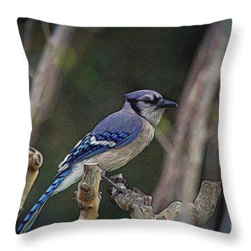 Blue Bird Of Happiness Throw Pillow