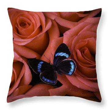 Blue Black Butterfly Throw Pillow