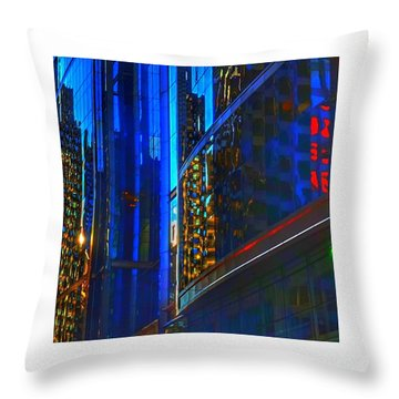 Throw Pillow featuring the photograph Blue Cityscape by Marianne Dow