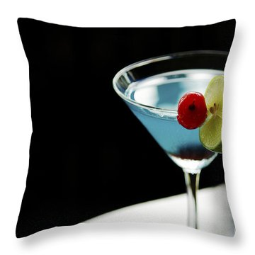 Blue Cocktail With Cherry And Lime Throw Pillow