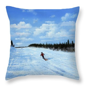 Throw Pillow featuring the painting Blue Cruiser by Ken Ahlering