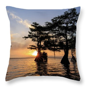 Blue Cypress Lake Morning Throw Pillow