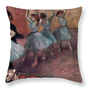Blue Dancers Throw Pillow by Edgar Degas