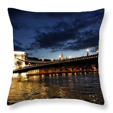 Blue Danube Sunset Budapest Throw Pillow