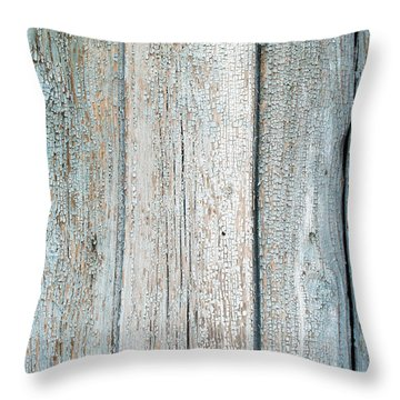 Throw Pillow featuring the photograph Blue Fading Paint On Wood by John Williams