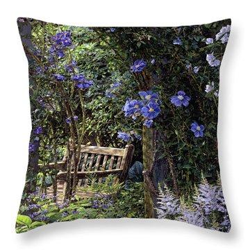 Blue Garden Respite Throw Pillow by Doug Kreuger